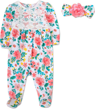 A.D. Sutton Girls' Rompers Coral - Coral & White Floral Footie & Headband - Infant