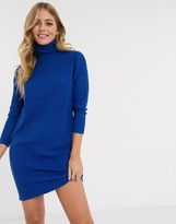 Brave Soul emilina roll neck fisherman knit sweater dress in royal blue