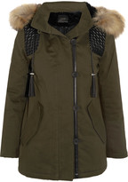 Maje Faux Fur And Faux Leather-trimmed Cotton-blend Twill Parka - Army green