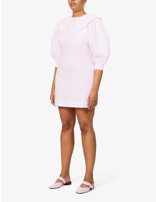 Ganni Peter Pan-collar organic cotton-poplin mini dress