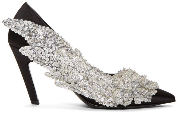 Balenciaga Black Sequin Slash Heels
