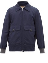 Brunello Cucinelli Contrast-cuff Canvas Bomber Jacket - Mens - Navy
