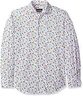 Bugatchi Men's Printed Cotton Tapered Fit Spread Collar Woven Shirt