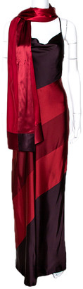 Max Mara Maroon Color Blocked Satin Shawl & Dress Set M