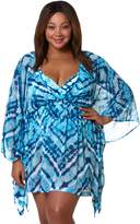 Plus Size Pink Envelope Tie-Dye Chiffon Cover-Up