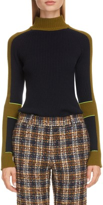 Victoria Beckham Colorblock Stripe Rib Wool & Cashmere Sweater