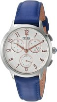 Fossil Women's CH3032 Abilene Stopwatch Chronograph Indigo-Dyed Leather Watch