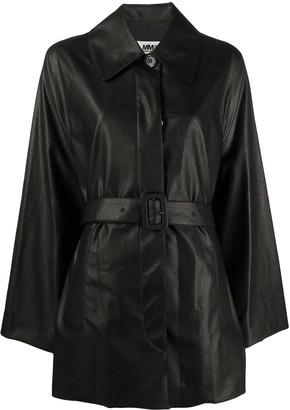 MM6 MAISON MARGIELA Belted Faux Leather Coat