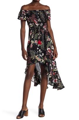 Nostalgia Apparel Off the Shoulder Button Front High-Low Dress