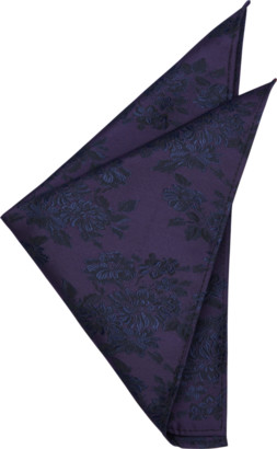 yd. Grape Elliot Tonal Floral Pocket Square