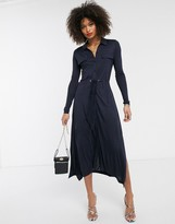 French Connection utility shirt midi dress in navy