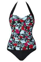 Pandolah Retro Skull Plus Size One Piece Bikini Pin Up Swimsuit Monokinis