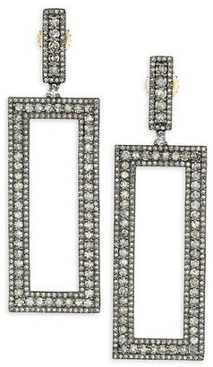 Nina Gilin Black Rhodium-Plated Silver & Diamond Cut-Out Rectangle Drop Earrings