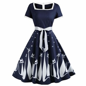 iHAZA Women Casual Cat Print Vintage Square Collar Short Sleeve Evening Party Swing Dress Navy