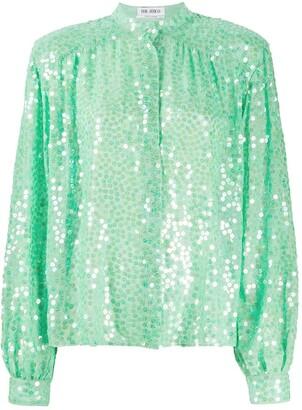 The Attico Mandarin Collar Embellished Silk Blouse