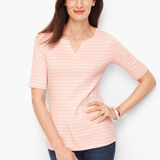 Talbots Cotton Split Neck Tee - Danbury Stripe