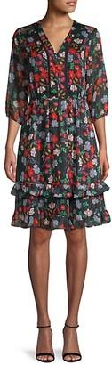 Nanette Lepore Floral-Print V-Neck Dress