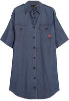 Love Moschino Embroidered Denim Shirt Dress