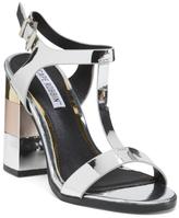 Metallic T Strap Heel Sandals