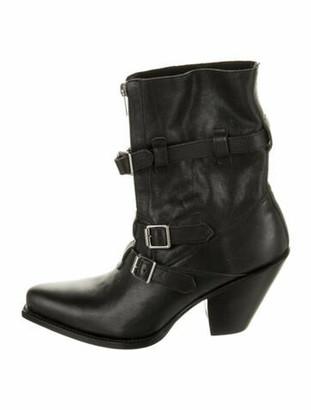Celine Leather Moto Boots Black