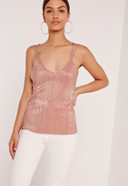 Missguided Pleated Strap Back Cami Top Pink