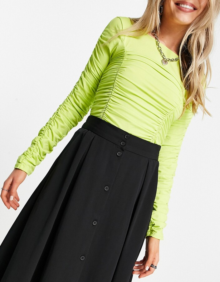 Thumbnail for your product : Monki Sigrid recycled button through midi skirt in black