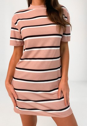 Missguided Blush Mixed Stripe Oversized T Shirt Dress