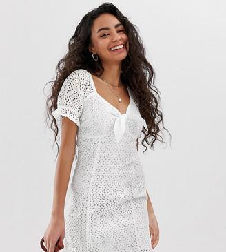 Miss Selfridge Petite broderie dress in white
