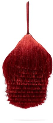 Hillier Bartley Lantern Fringed Leather Clutch - Red