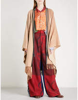 Loewe Ladies Light Brown Anagram-Print Wool And Cashmere Cape Size