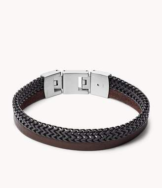 Fossil Duo Black Stainless Steel And Brown Leather Bracelet jewelry JF03180040