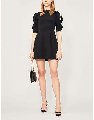 Valentino Ruffled fit-and-flare stretch-knit mini dress