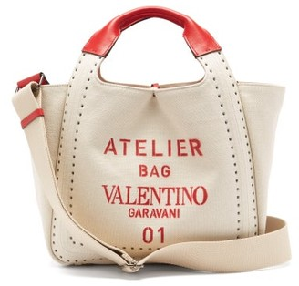 Valentino Atelier 01 Logo-print Canvas And Leather Tote Bag - Cream Multi