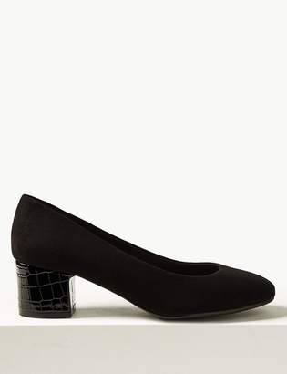M&S CollectionMarks and Spencer Wide Fit Almond Toe Block Heel Court Shoes