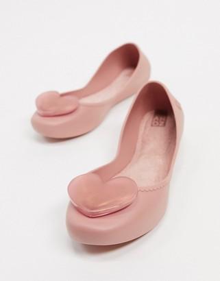 Zaxy heart orb flat shoes in blush