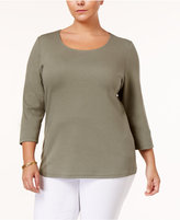 Karen Scott Plus Size Cotton Scoop-Neck Top, Only at Macy's
