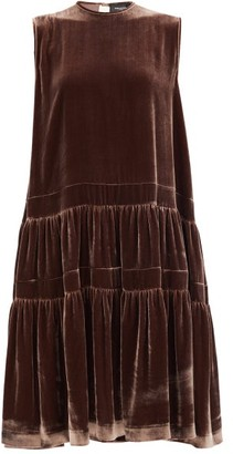 Rochas Tiered Velvet Midi Dress - Dark Brown