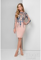 Terani Evening - Shimmering Long-Sleeve Illusion Cocktail Dress 1711C3027
