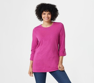Denim & Co. Active Petite French Terry 3/4-Sleeve Tunic