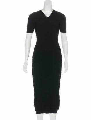 Victoria Beckham Short Sleeve Midi Dress Black