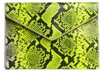 Rebecca Minkoff Leo Neon Snakeskin-Embossed Leather Envelope Clutch