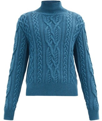 Paul Smith Roll-neck Cable-knit Wool Sweater - Blue