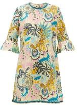 Le Sirenuse Le Sirenuse, Positano - Psycho-print Cotton Mini Dress - Womens - Yellow Multi