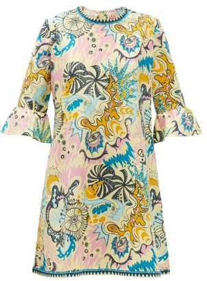 Le Sirenuse Positano Le Sirenuse, Positano - Psycho-print Cotton Mini Dress - Yellow Multi