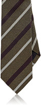 Drakes Drake's Men's Textured-Stripe Silk Necktie-DARK GREEN