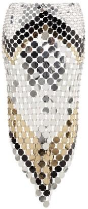 Paco Rabanne Triangular-hem Pailette-chainmail Midi Skirt - Womens - Silver