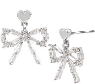 Betsey Johnson Silvertone Crystal Bow Drop Earrings