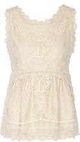 Anna Sui Crochet-trimmed embroidered stretch-tulle top
