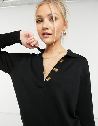 Object set knitted polo neck with button details