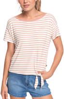 Roxy Women's Tee Shirts Terra - Terra-Cotta Stripe Oceanside Tie-Accent Tee - Women & Juniors